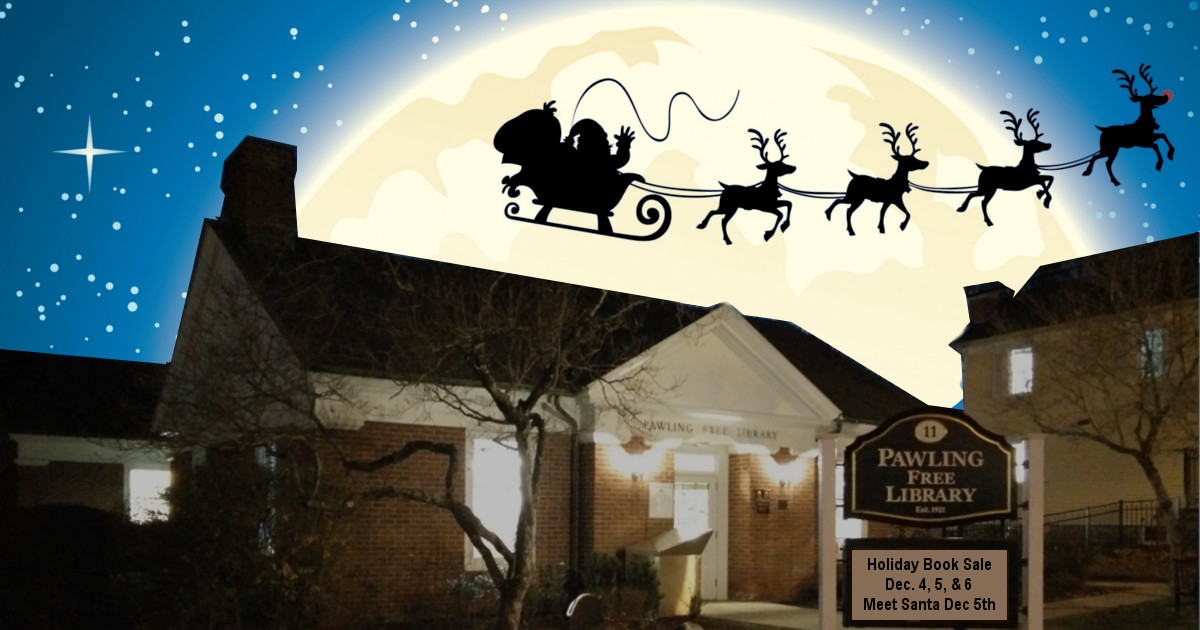 Santa and reindeer fly over the Pawling Library at night.