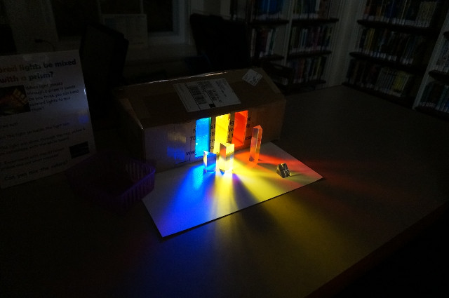 We mix colored light with prisms.